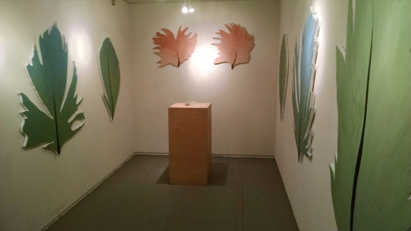 Photo of Lauren's installation, Third Friday, 4-17-15. Photo credit - Ted Decker