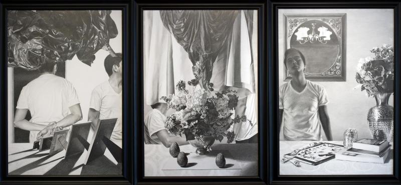 Ockham's Razor , 2015, Graphite triptych, 44 x 33 x 3 in.