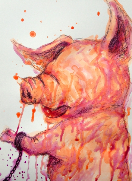 Takashi Hara, pig drawing for expo, 10-6-15