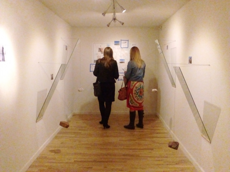 Viewers engaged with Tulio's installation, Opening Night, 11-20-15