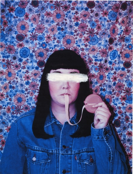 "Bubblegum Reel  Anonymous Self Portraits , 2015 Digital Color Archival Inkjet print with Hand Applied Processes 11 x 8.5""."