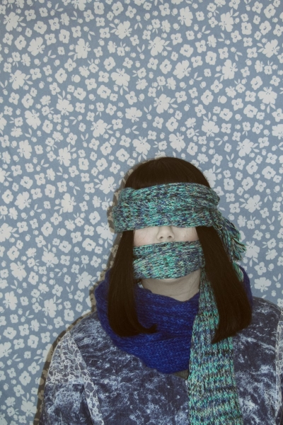 "Wrapped Up    Anonymous Self Portraits , 2015 Digital Color Archival Inkjet print with Hand Applied Processes 11 x 8.5""."