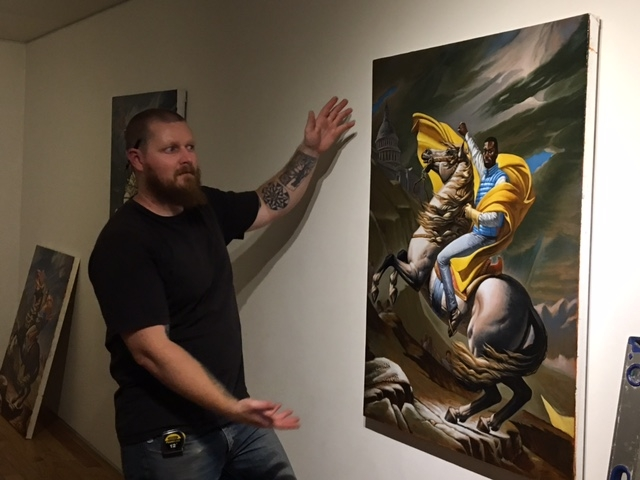 Cory Slawson installing Darrin's exhibition, 10-20-16
