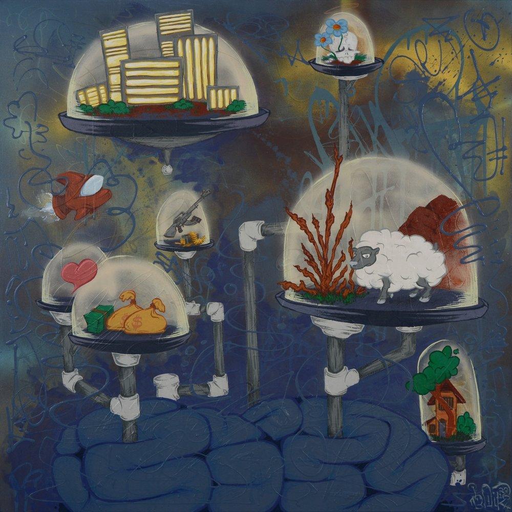 "Cerebral Cluster , 2016 Acrylic, aerosol, colored pencil on canvas 36 x 36"""