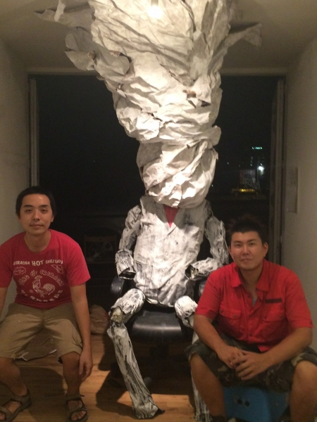 Kazuma Sambe with Takashi and his installation, 10-15-15. Photo credit - Ted Decker