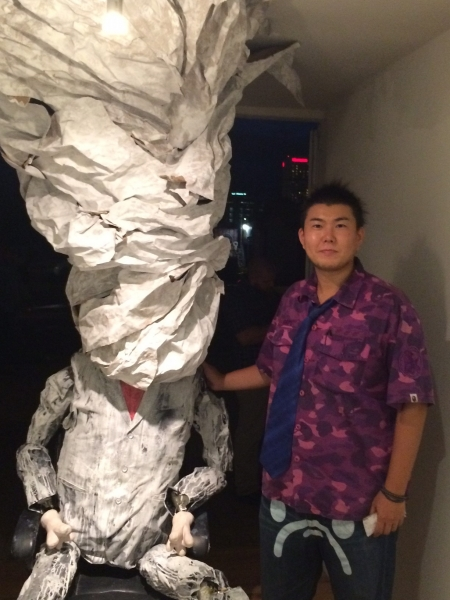Takashi with his sculptural installation, 10-16-15
