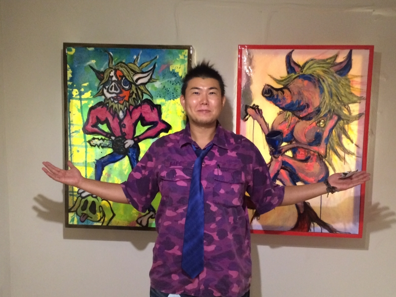 Tak with 2 paintings, 10-16-15