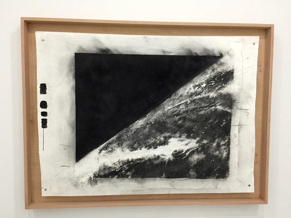 Joseph G. Cruz, Powdered Shrapnel from a V2 Rocket, Charcoal, archival water paper, wood, 2014, 48x65x3 in, Courtesy Artist..jpg