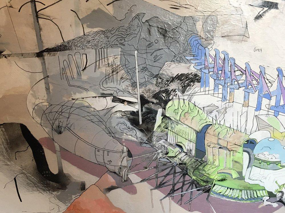 Nick Gutierrez, Untitled (detail), 2017, Acrylics on drywall, 48 x 60 in.JPG