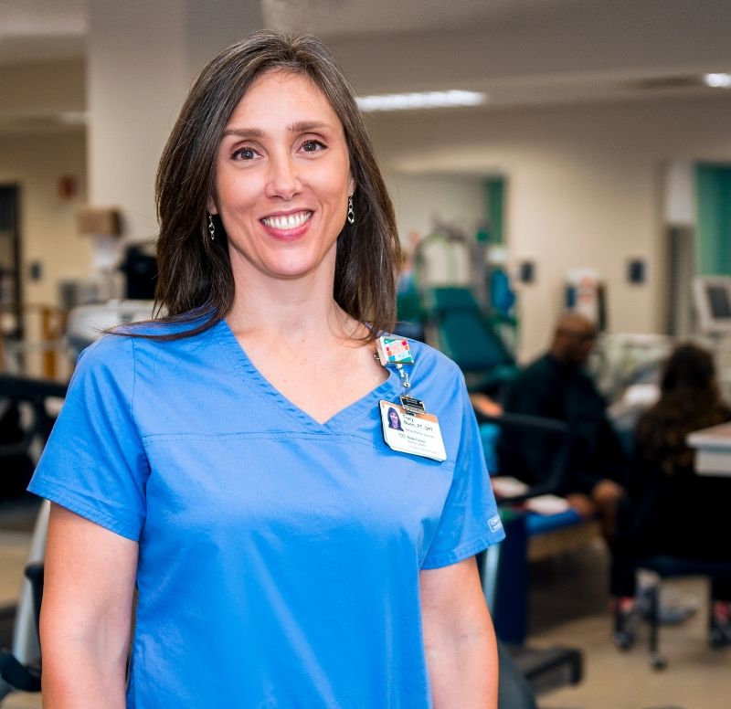 Tracy Nunn, manager of rehabilitation services at Wake Forest Baptist Health - Lexington Medical Center, is a certified kinesio taping practitioner.  Photo courtesy: Wake Forest Baptist Medical Center Photography