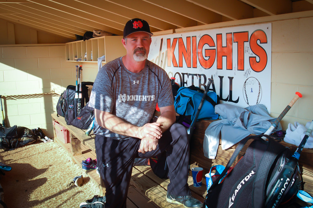 Berkley accepted the role of managing the Lady Black Knights varsity softball team after more than three decades being coached by a community legend.   Photo by Eliot Duke.