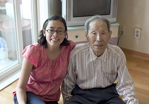 Me with my great uncle, Yu Il-sang, my inspiration for this project. He died when he was 90 without knowing the fates of his parents and younger sisters, whom he hadn't seen or heard from in almost 65 years. Photo by Lee Hyunseok