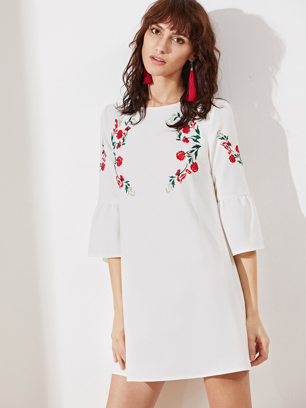 SheIn Embroidered Tunic Dress