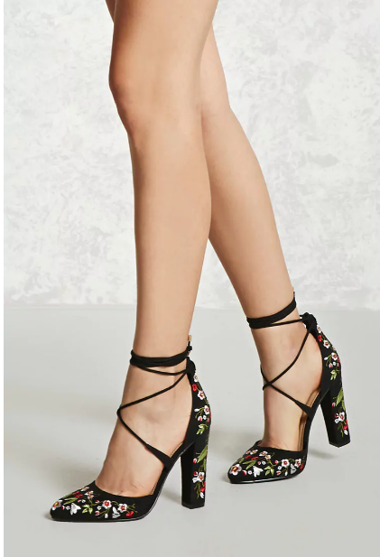 Forever 21 Embroidered Lace Up Heels
