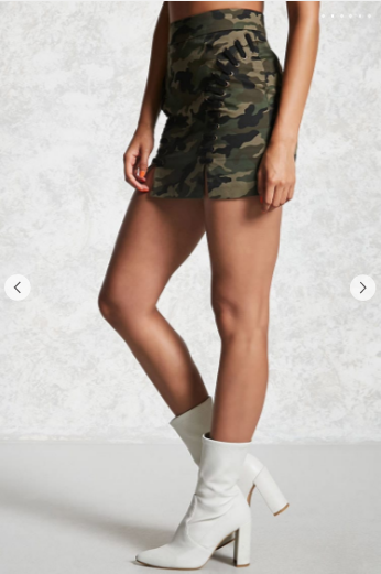 Forever 21 Camo Print Lace Up Skirt