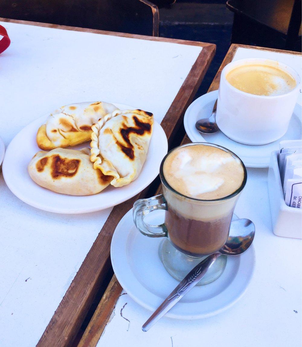 Empanadas and Cortado in Buenos Aires, Argentina