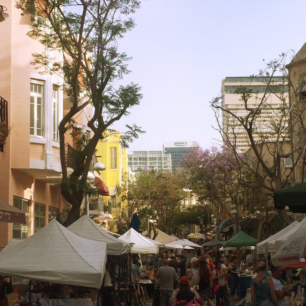 Local crafts outside Carmel Market in Tel Aviv, Israel