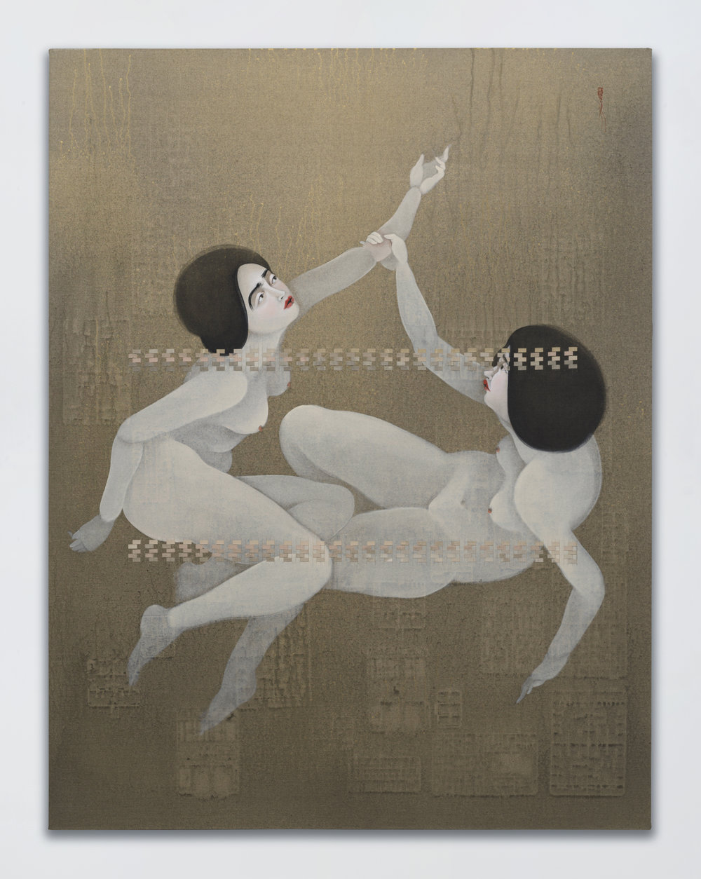 Hayv Kahraman -  Mnemonic Artifact 2 , 2017, oil on linen, 70 1/16 x 53 7/8 x 4 1/8 inches. © Hayv Kahraman. Courtesy of the artist and Jack Shainman Gallery, New York.