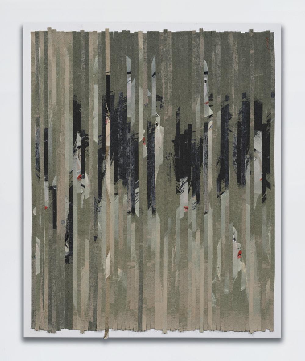 Hayv Kahraman - Strip 1 , 2017,oil on linen,39 x 32 x 2 1/2 inches.© Hayv Kahraman. Courtesy of the artist and Jack Shainman Gallery, New York.