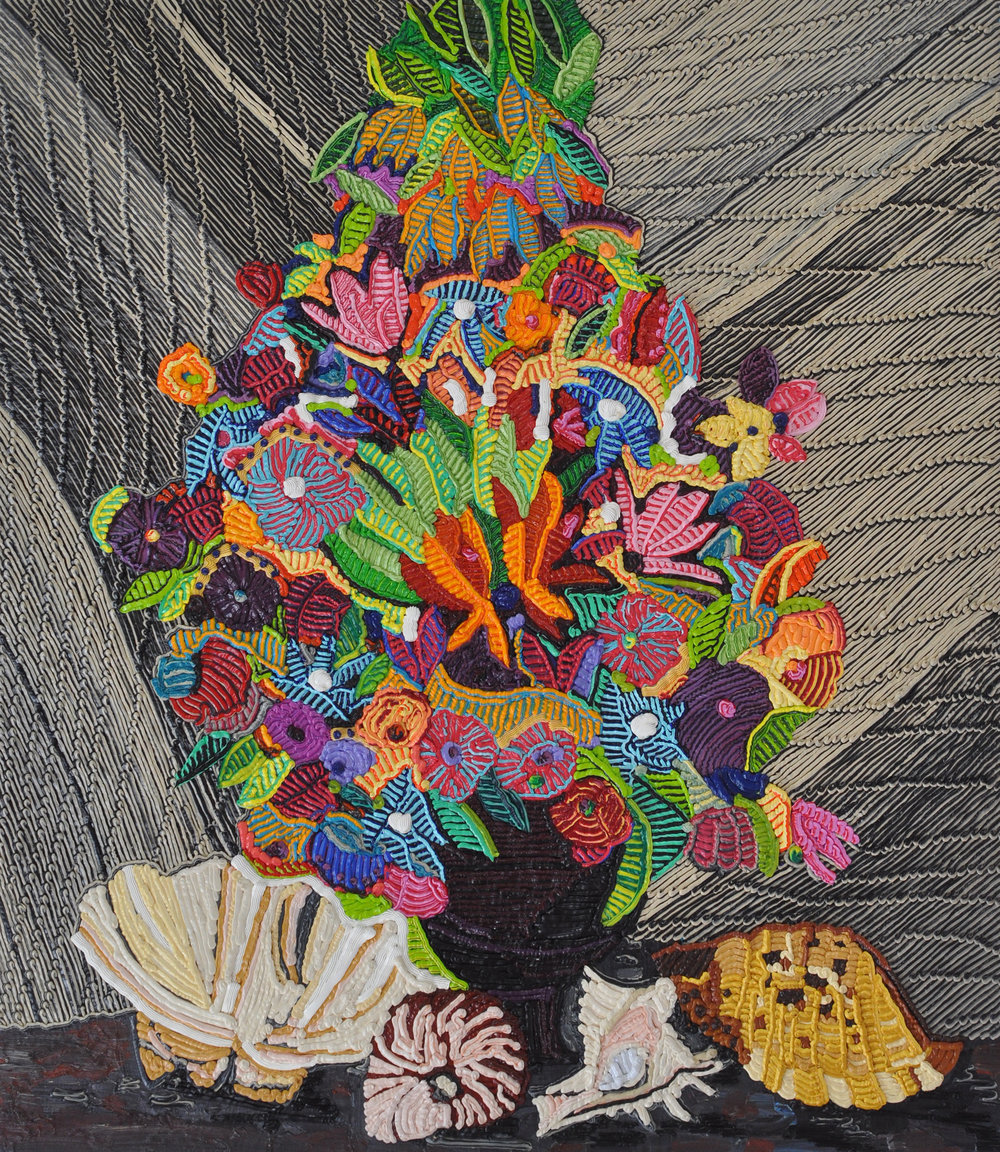 Caroline Larsen - Shell Still Life  2017.Oil on Canvas, 31 x 27 inches.Image courtesy Caroline Larsen.