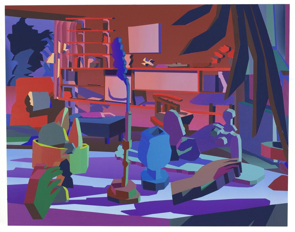 Jonathan Chapline - Domestic Interior 2017. Acrylic and flashe on panel, 23 x 30.5 in.Image courtesy Jonathan Chapline.