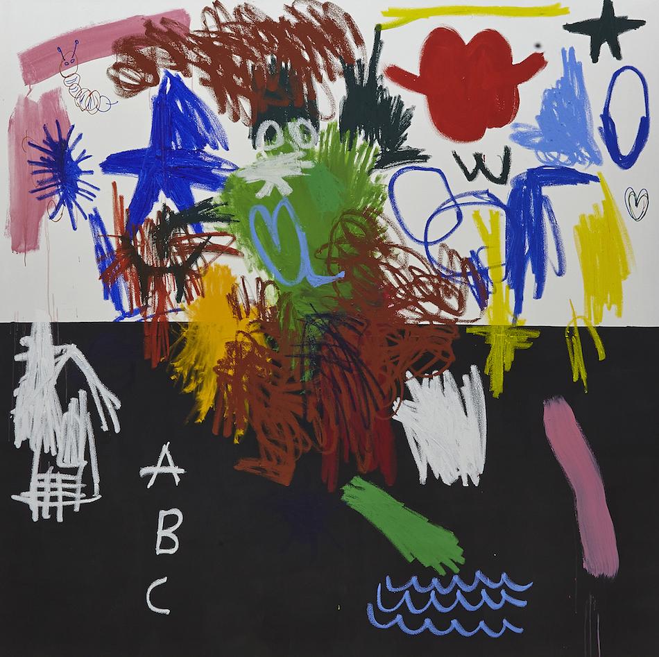 Jannis Varelas - ABC Flag , 2015, guesso, oil, oistick, acrylic, permanent marker on canvas, 210 x 210 cm.Image courtesy The Breeder.