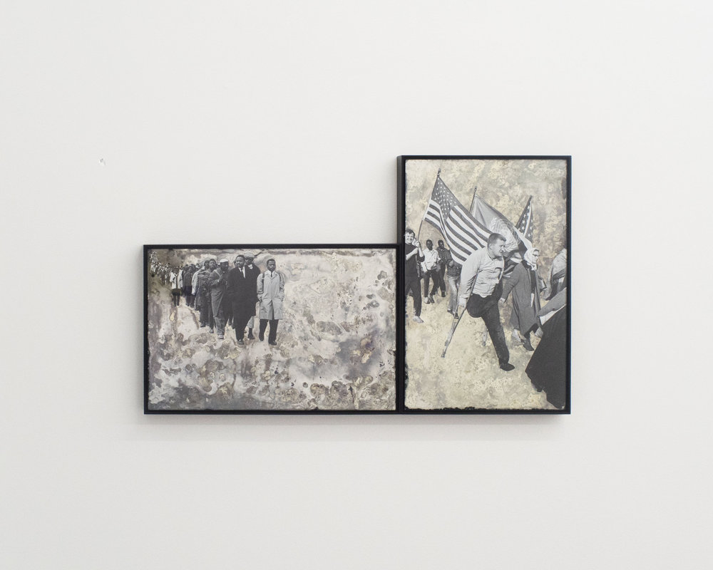 Hank Willis Thomas - Come Walk In My Shoes and I Will Show You Change  (left),  His Truth Is Marching On  (right), 2016, glass, silver, and digital Print,17 1/2 x 29 in.Image courtesy Rubber Factory.
