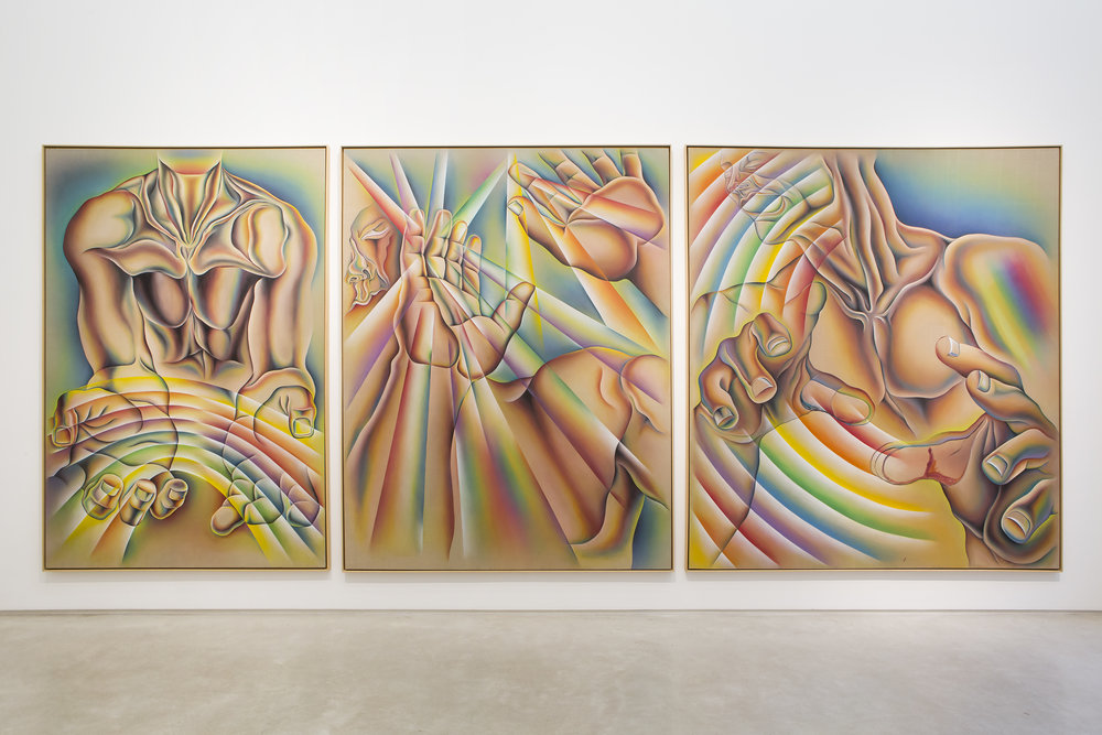 Judy Chicago -  Rainbow Man , 1984, sprayed acrylic and oil on Belgian linen, overall framed dimensions: 109 1/2 x 255 3/4 x 2 inches (278.1 x 649.6 x 5.1 cm). Image courtesy Salon 94.