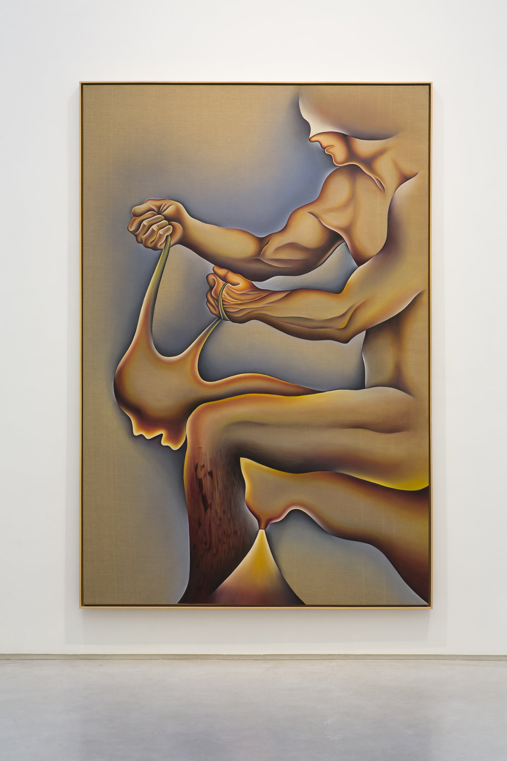 Judy Chicago -  Crippled by the Need to Control/Blind Individuality , 1983, Sprayed acrylic and oil on Belgian Linen, framed dimensions: 109 1/2 x 73 1/2 x 2 inches. Image courtesy Salon 94.