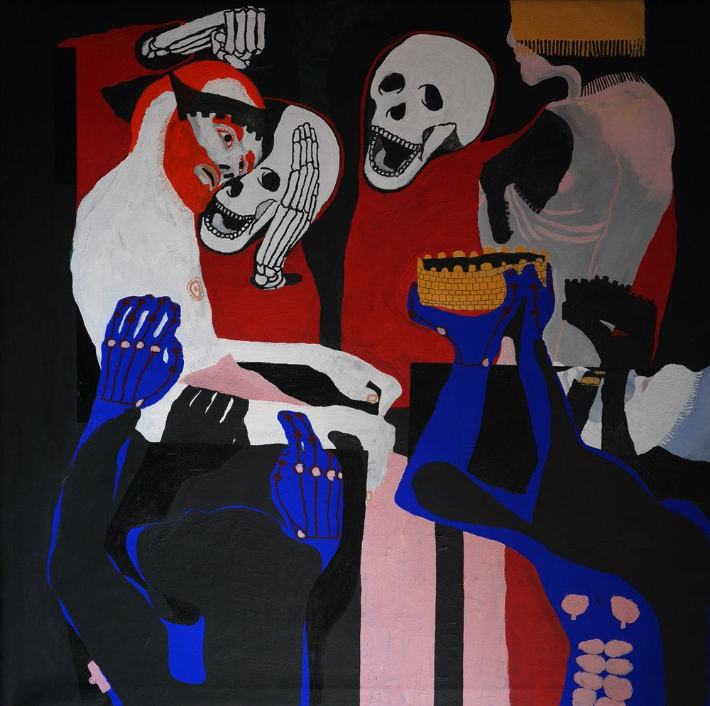 Moley Talhaoui -  Untitled  (2017)130cm X 130cm, acrylic and oil on canvas.Courtesy the artist.