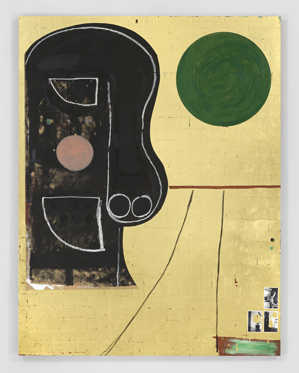 Dave McDermott - Then & Now 2016,Oil, oil stick, 23k gold, cardboard, Flashe, gesso, photographs, sizing, and wax on panel,237.8 x 182.9 x 5.1 cm   93 5/8 x 7.Copyright the artist.Courtesy of the artist and GRIMM Amsterdam   New York.
