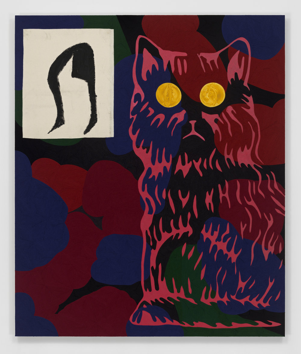 Dave McDermott - Borrowed Tune for Marlowe (Armleder's Cat) 2018,Yarn, oil, oil stick, canvas on panel,190.5 x 160 x 5.1 cm   75 x 63 x 2 in.Copyright the artist.Courtesy of the artist and GRIMM Amsterdam   New York.