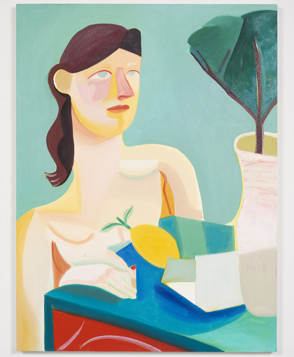 Danielle Orchard - Girl Reading a Letter, 2017,Oil on canvas,40 x 30 inches.Courtesy of the artist and Jack Hanley Gallery.