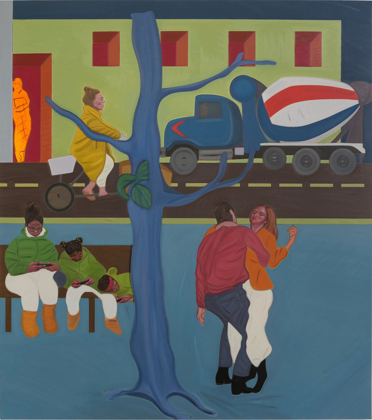 Stuart Lorimer - A Train Can Hide Another From It (Dance of Life) , 2018,Oil and charcoal on canvas,54 x 48 inches.Courtesy of Lyles & King.