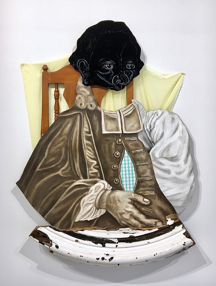 "David Shrobe -  Reckewa Greeting 2018, Oil on canvas mounted on wood panel, acrylic, fabric,59.5 x 43 x 4"".Image courtesy of David Shrobe."