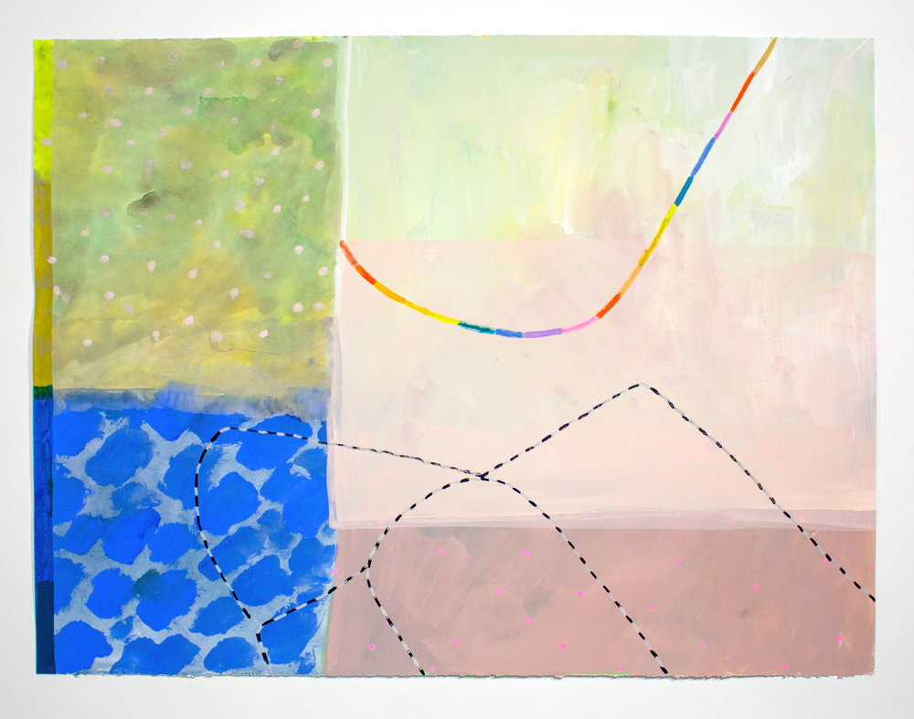 "Ashely Peifer -  kids kingdom, 2016,Acrylic, gouache, and latex on paper,28"" × 36"".Courtesy of Uprise Art and the artist Ashely Peifer."
