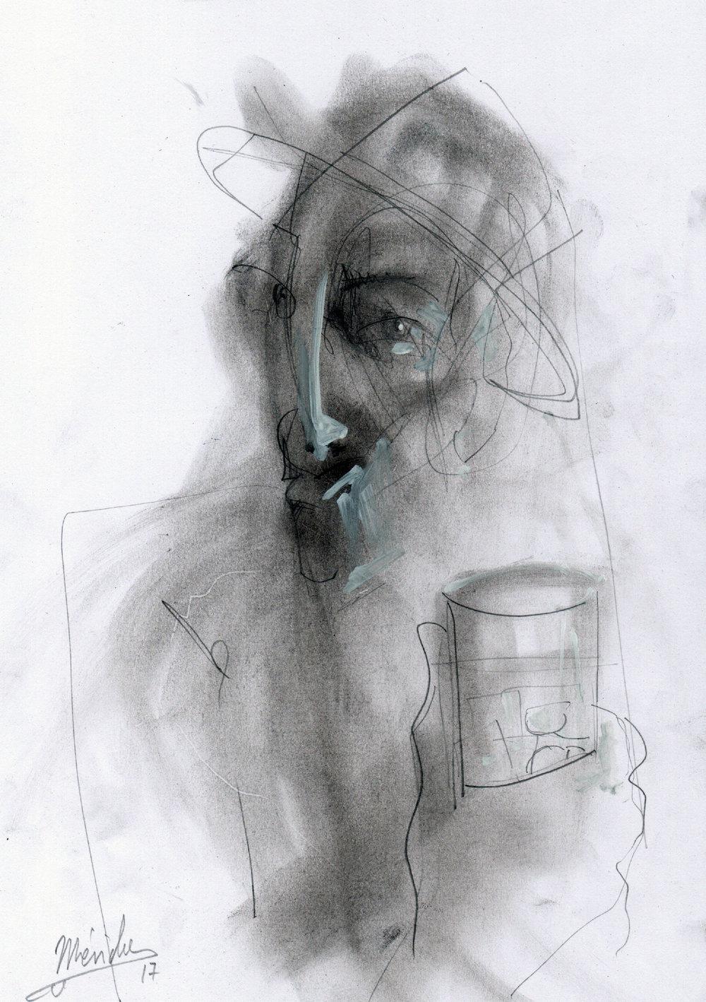 Andres Mérida -  El Hombre del Vaso , 2017,Ash, pen, marker on paper,30x21cm.Courtesy of the artist.