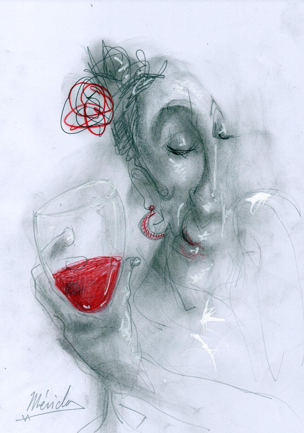 Andres Mérida - La Chata , 2017, Ash, pen, marker on paper,30x21cm.Courtesy of the artist.