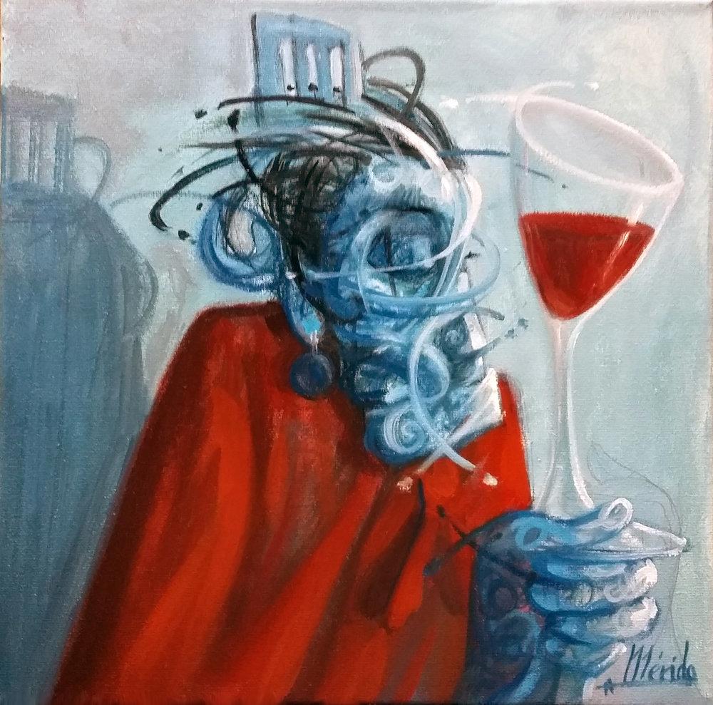 Andres Mérida -  Manta y Tinto , 2017, Oil on canvas,30x30cm.Courtesy of the artist.
