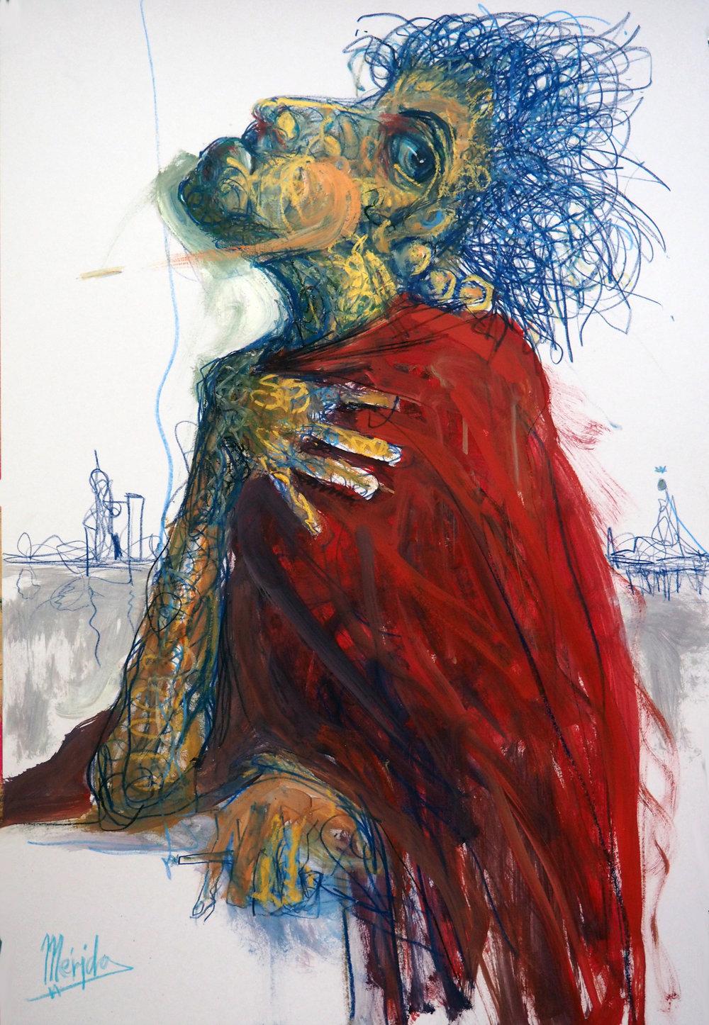 Andres Mérida -  Trade de Pasión , 2017,Oil on board,100x70cm.Courtesy of the artist.