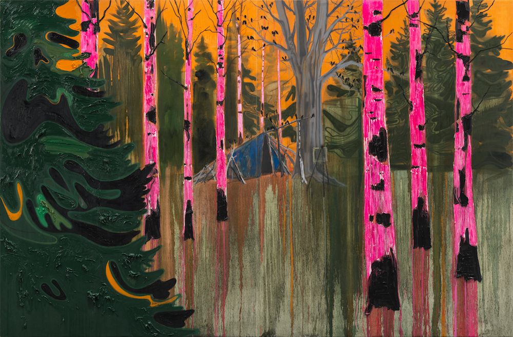 """Kim Dorland - Shelter , 2017/8,oil on linen,96"""" x 144"""" (diptych).Image courtesy Arsenal Contemporary."""