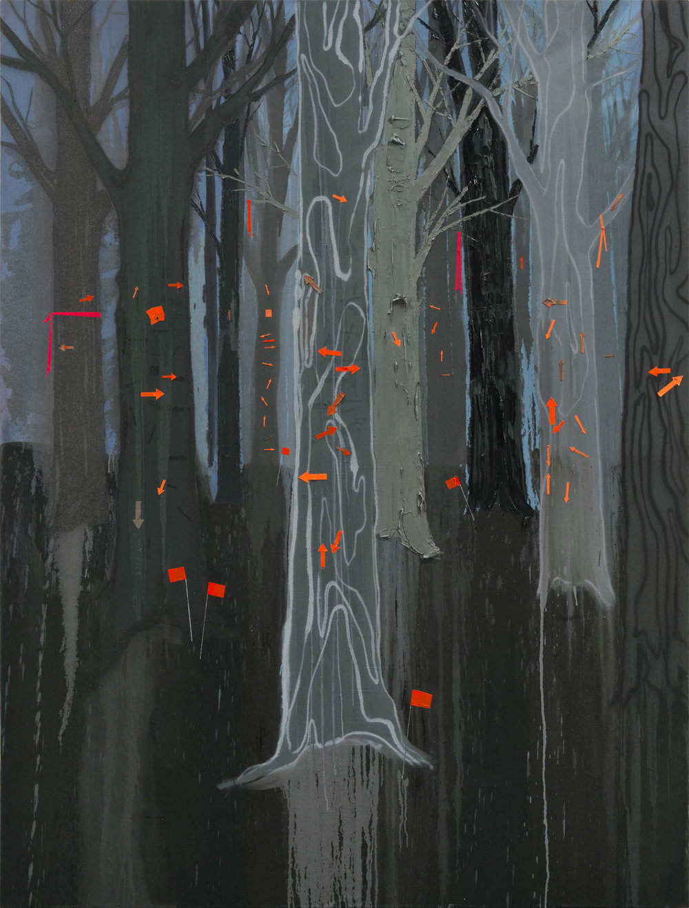 """Kim Dorland - All Ideas are Wrong , 2017/18, oil on linen,96"""" x 73"""".Image courtesy Arsenal Contemporary."""