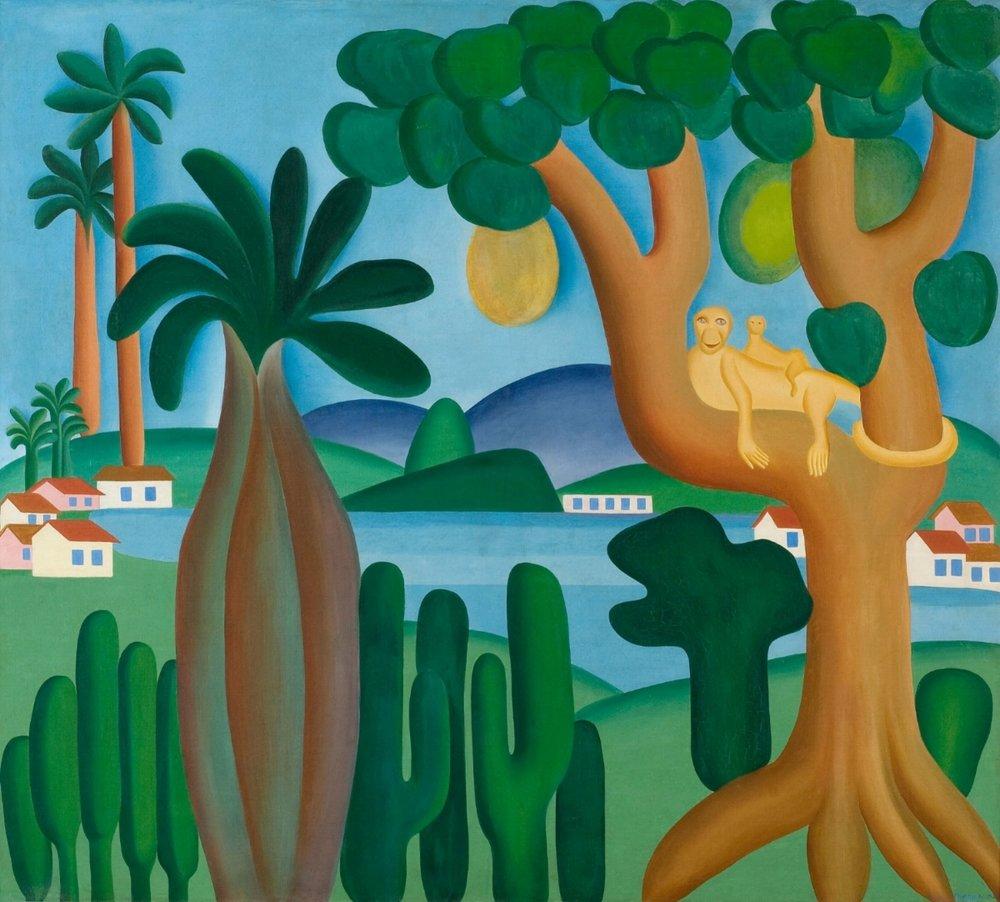 Tarsila do Amaral.Postcard (Cartão-postal), 1929. Oil on canvas. 50 3/16 x 56 1/8 in. (127.5 x 142.5 cm). Private collection, Rio de Janeiro. © Tarsila do Amaral Licenciamentos.