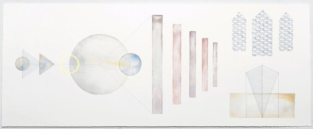 Diagrammatic Construct #1   acrylic and pen on paper,  30 x 75cm