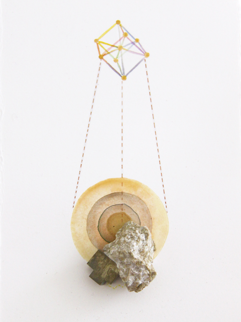 Geometric Findings (Pyrite)   pyrite, acrylic and pen on paper, 25 x 14cm