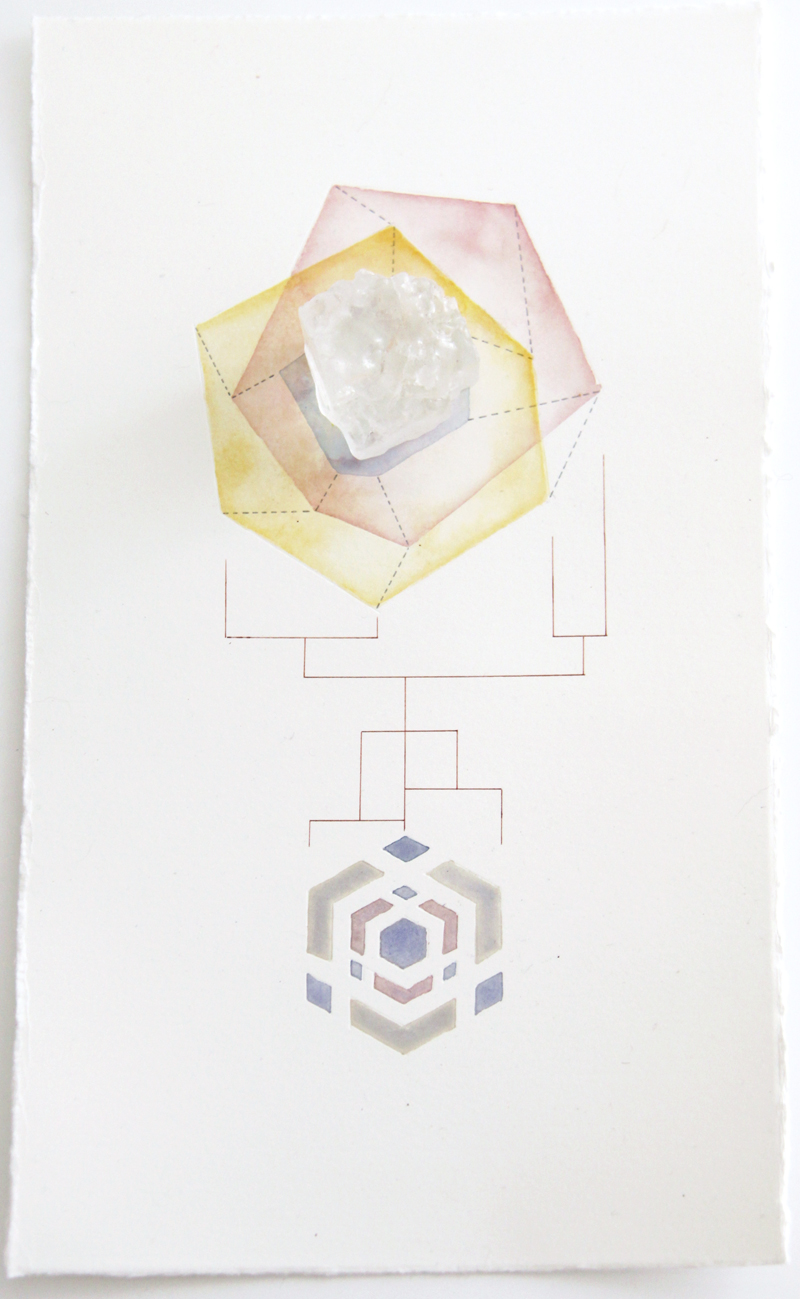 Geometric Findings (Salt Crystal)   salt crystal, acrylic and pen on paper, 33 x 19cm