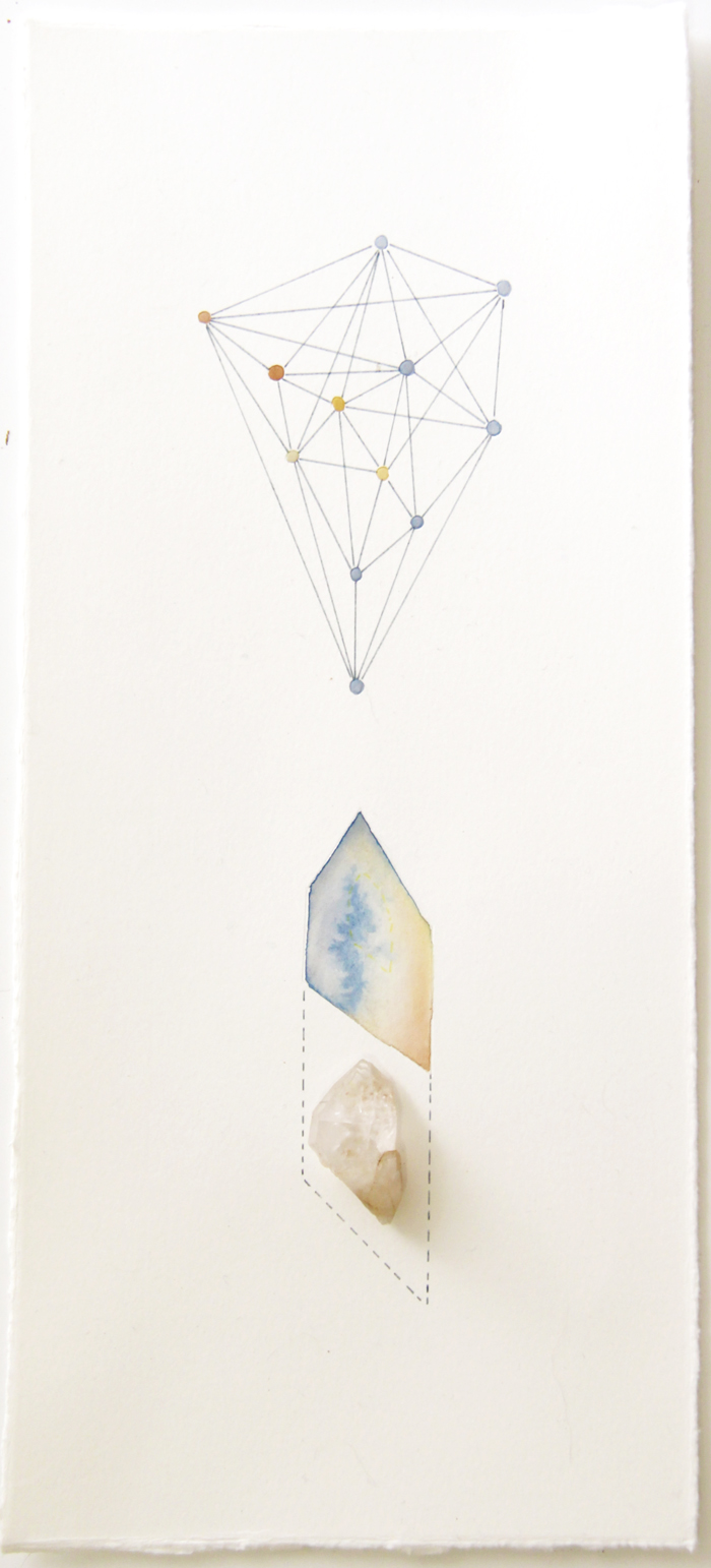 Geometric Findings (Quartz)   quartz, acrylic and pen on paper, 33 x 15cm