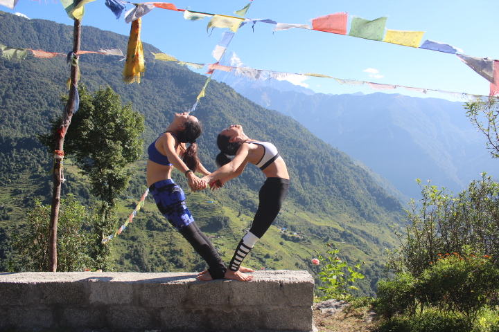 Heart shape yoga pose with Fishtail mountain