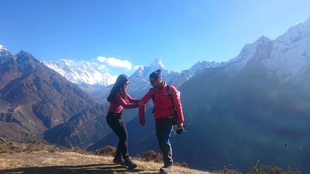 Sharing the beautiful trails in Nepal with our caring guide name Ramu