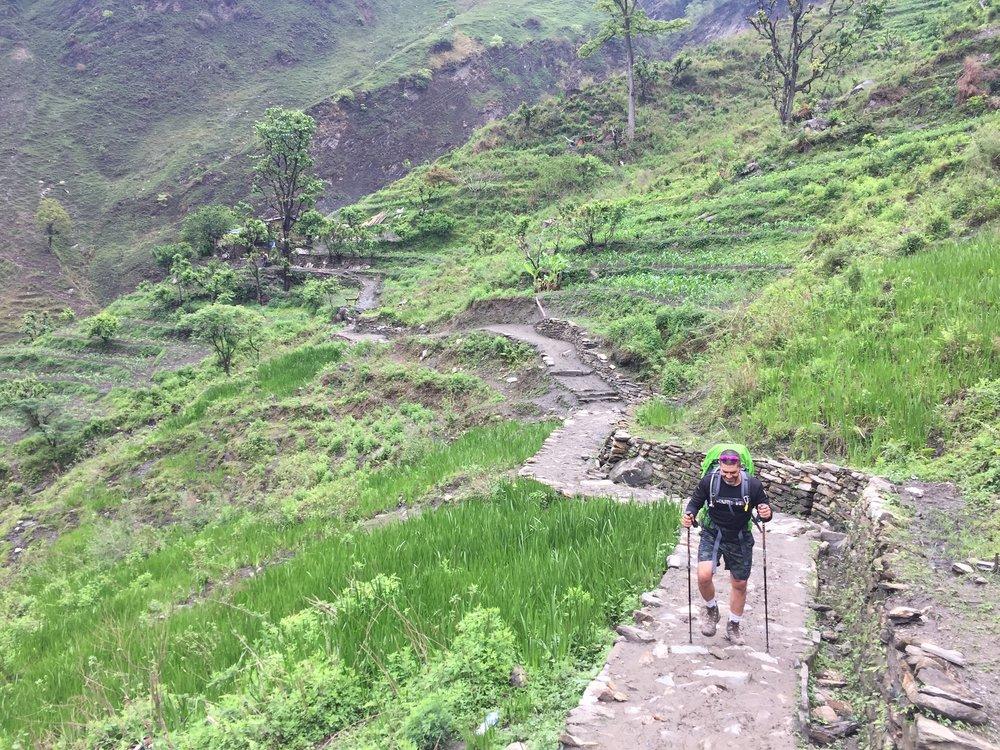 Đường đi ngang qua những ruộng bậc thang xanh mướt